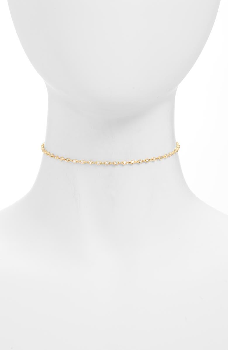 ADINA'S JEWELS Adina's Jewels Bezel Chain Choker, Main, color, 710