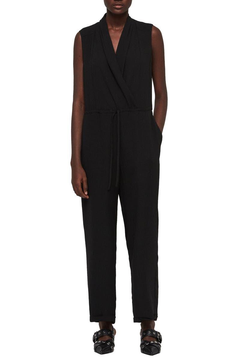 ALLSAINTS Cassie Sleeveless Jumpsuit, Main, color, BLACK