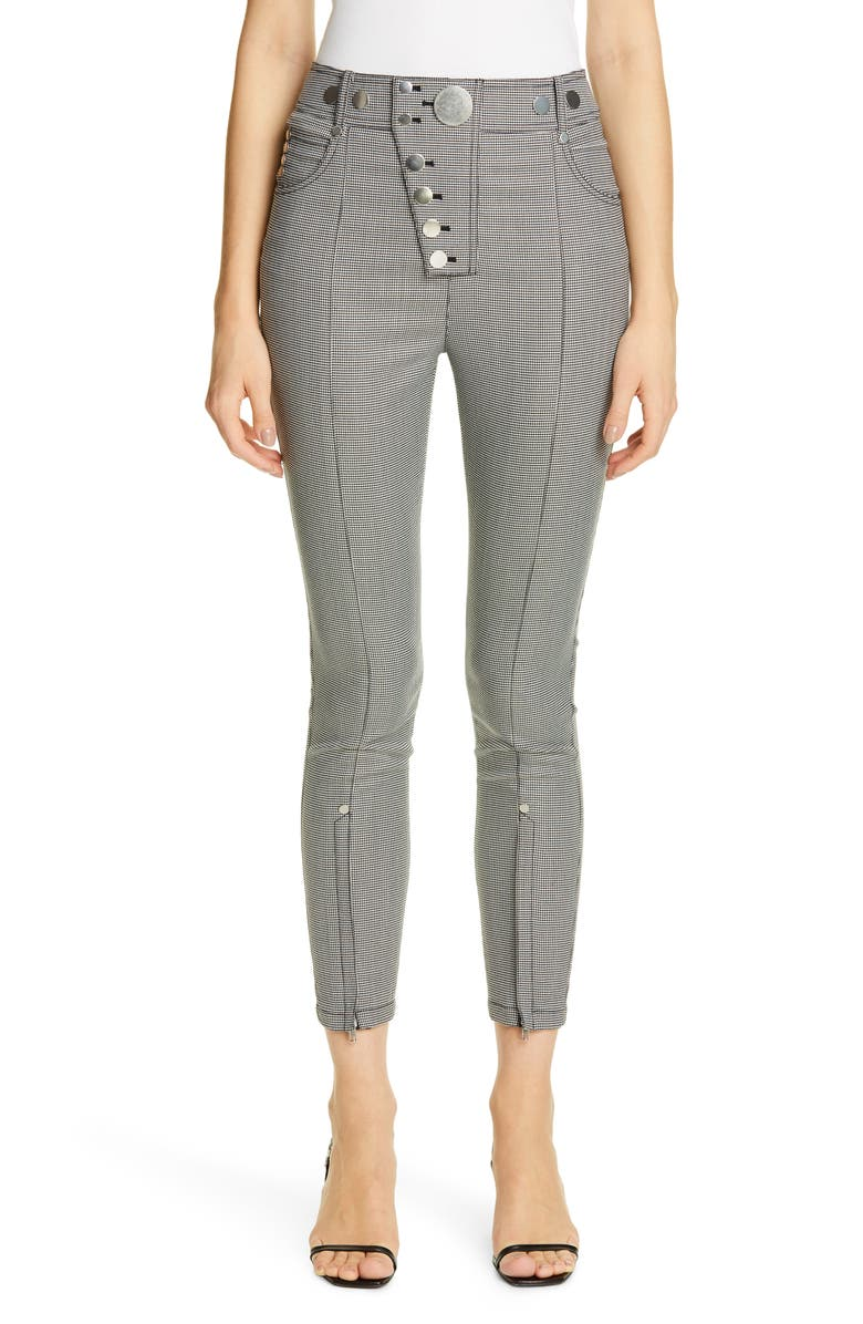 ALEXANDER WANG Zip Hem Houndstooth Legging Pants, Main, color, BLK/ WHT HOUNDSTOOTH