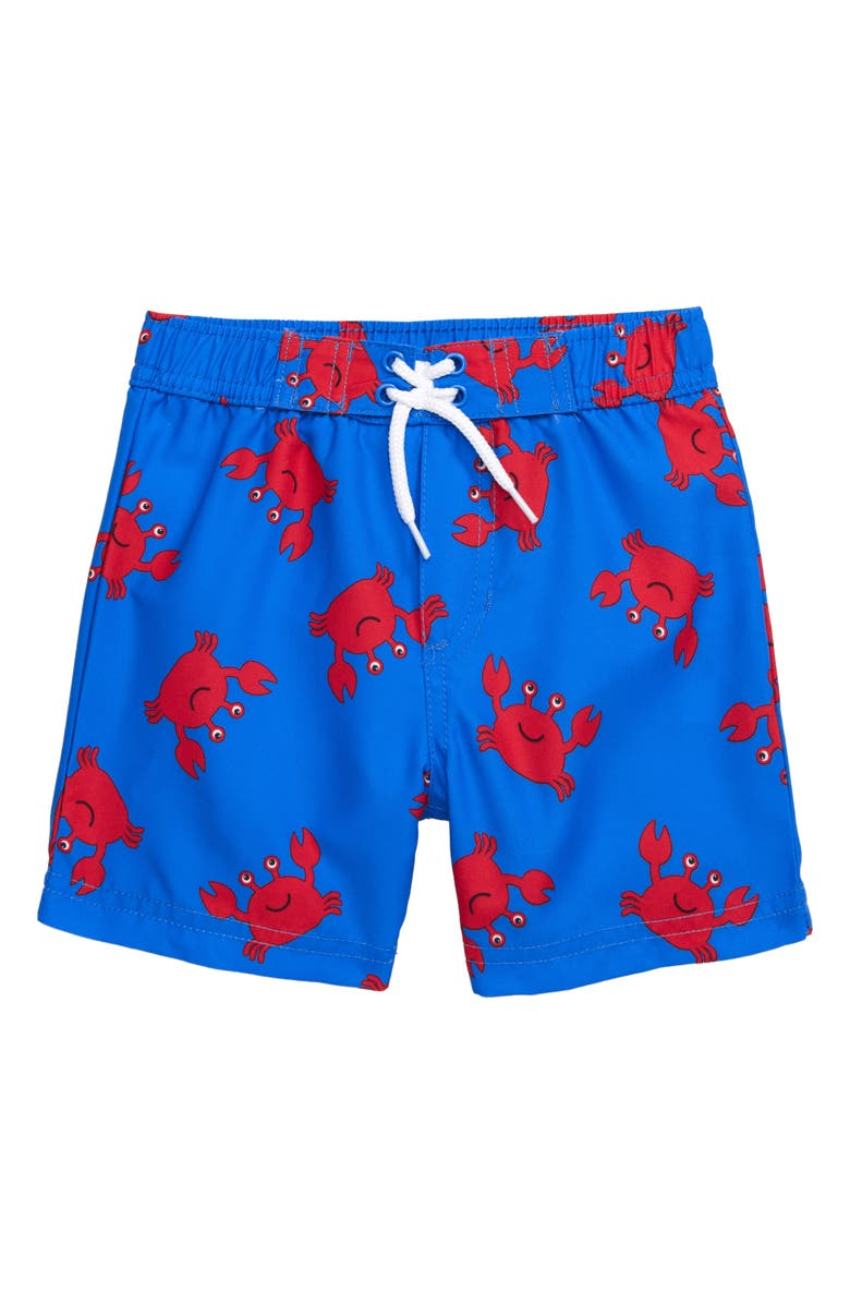 LITTLE ME Crab Print Swim Trunks, Main, color, 457