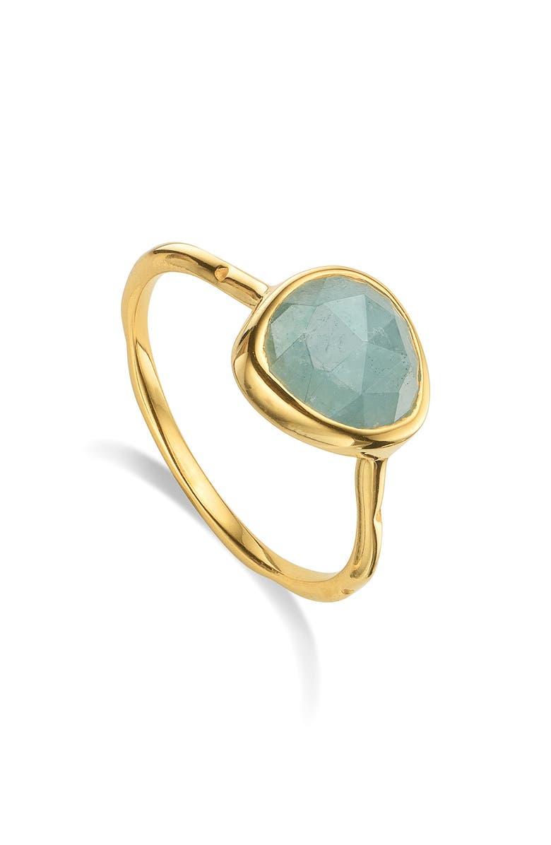 MONICA VINADER Siren Semiprecious Stone Stacking Ring, Main, color, YELLOW GOLD/ AQUAMARINE