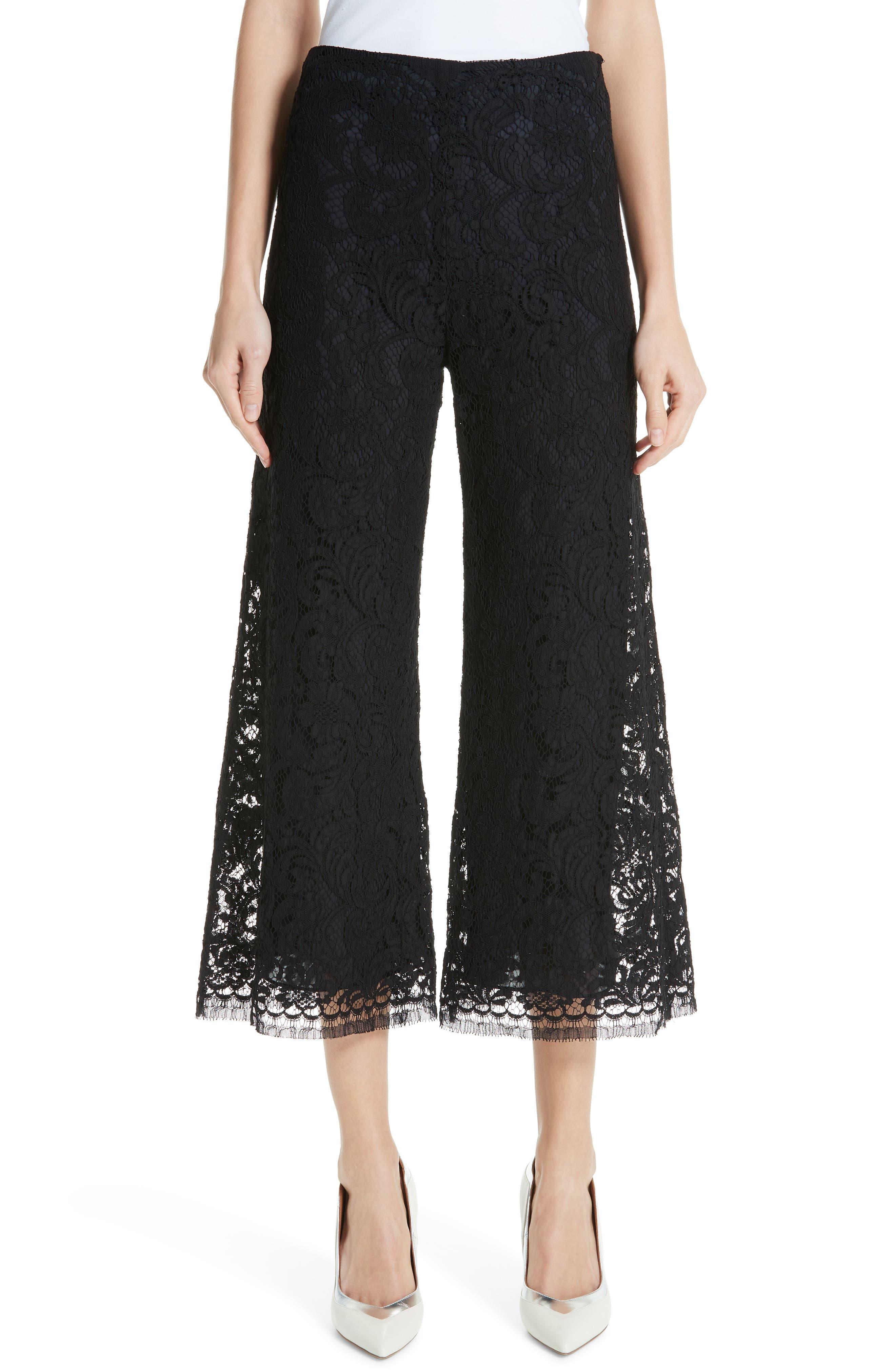 women's adam lippes lace crop wide leg pants, size 8 - black