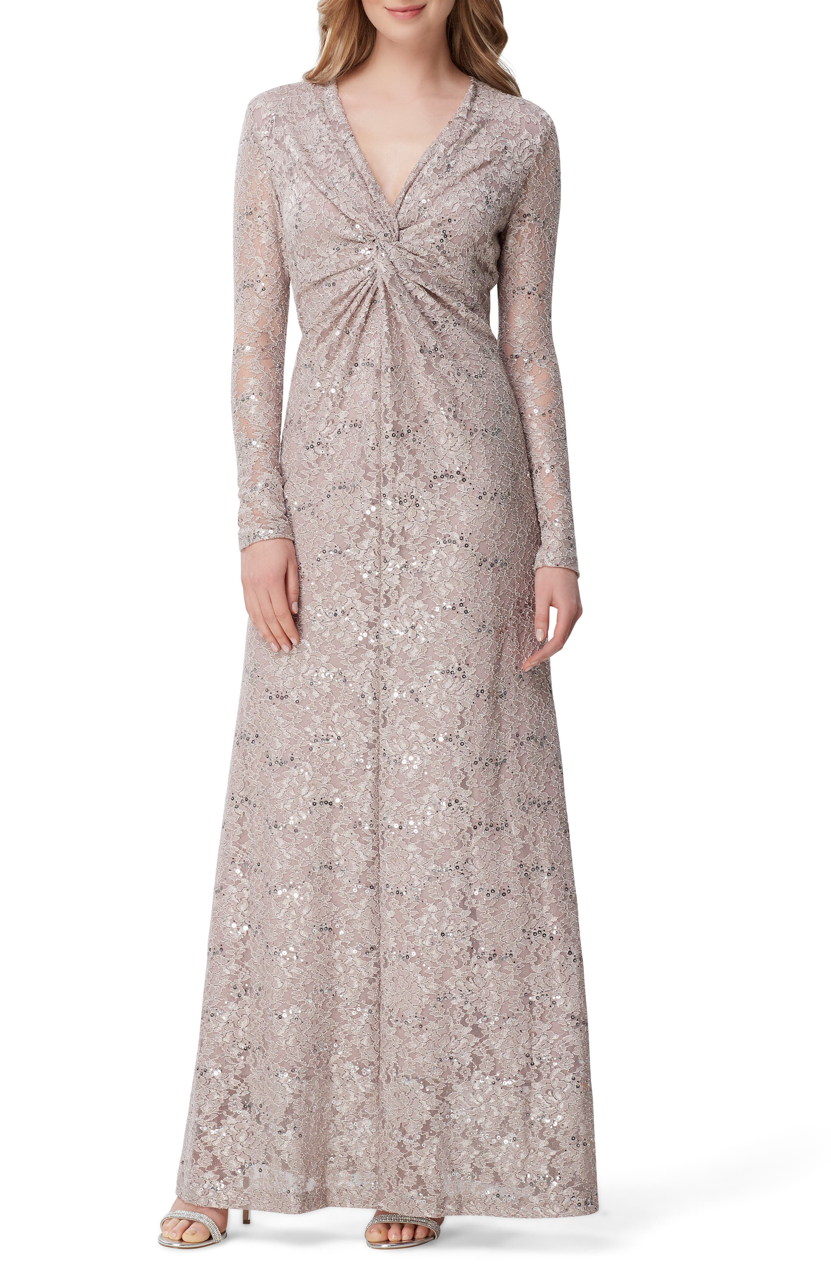 Tahari Long Sleeve Sequin Lace Stretch Gown, Red