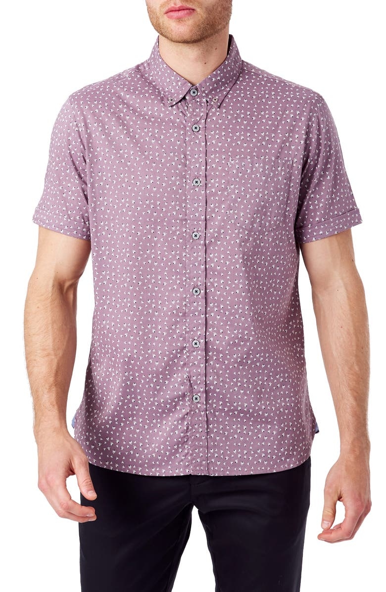 7 DIAMONDS Eyes of the Muse Slim Fit Short Sleeve Button-Down Sport Shirt, Main, color, GRAPE