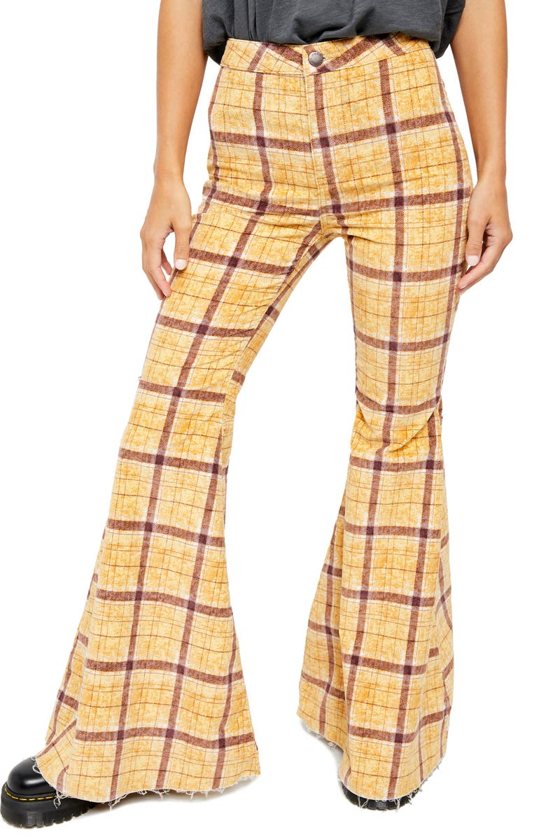 FREE PEOPLE Just Float on Flare High Waist Corduroy Pants, Main, color, MUSTARD PLAID