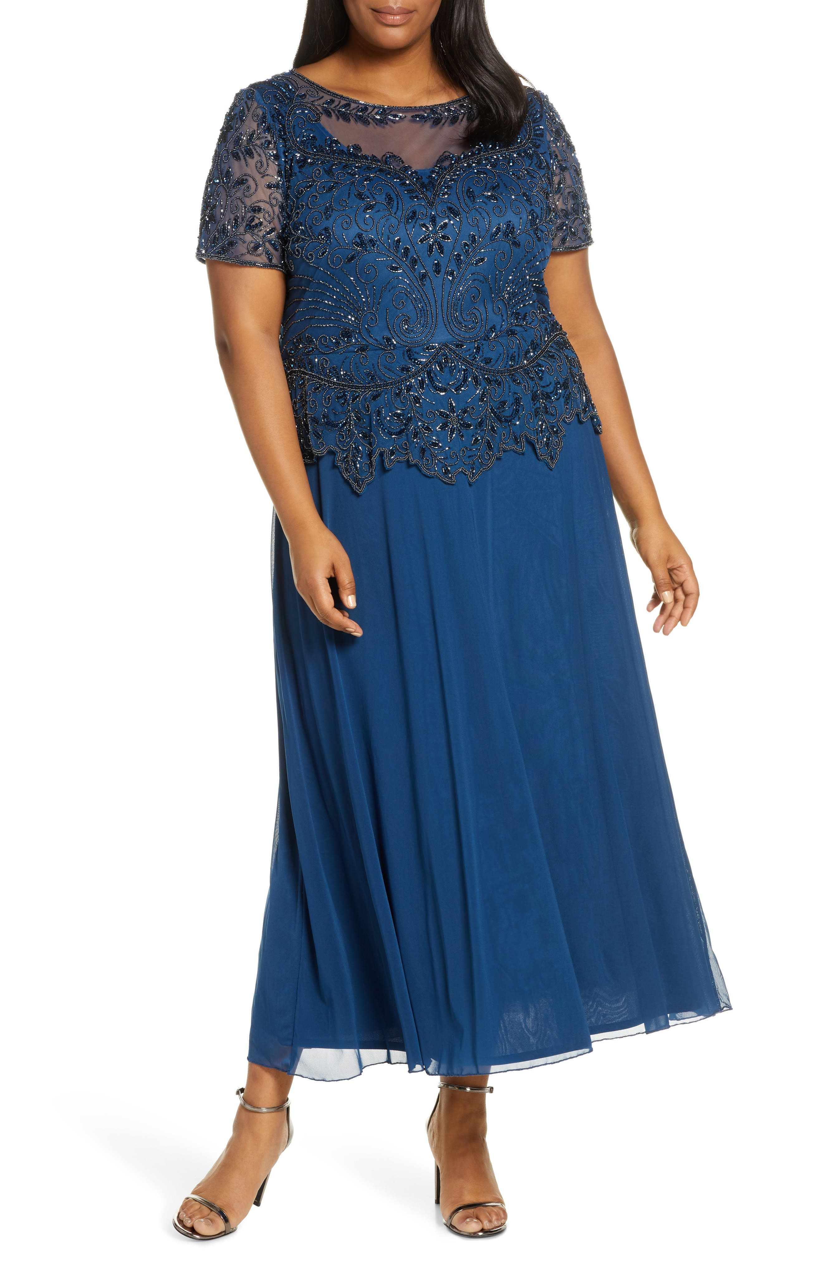 Vintage 1920s Dresses – Where to Buy Plus Size Womens Pisarro Nights Embellished Mesh Mock Two-Piece Gown Size 20W - Blue $228.00 AT vintagedancer.com