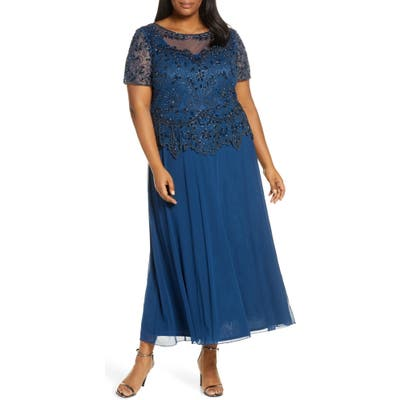 Plus Size Pisarro Nights Embellished Mesh Mock Two-Piece Gown, Blue