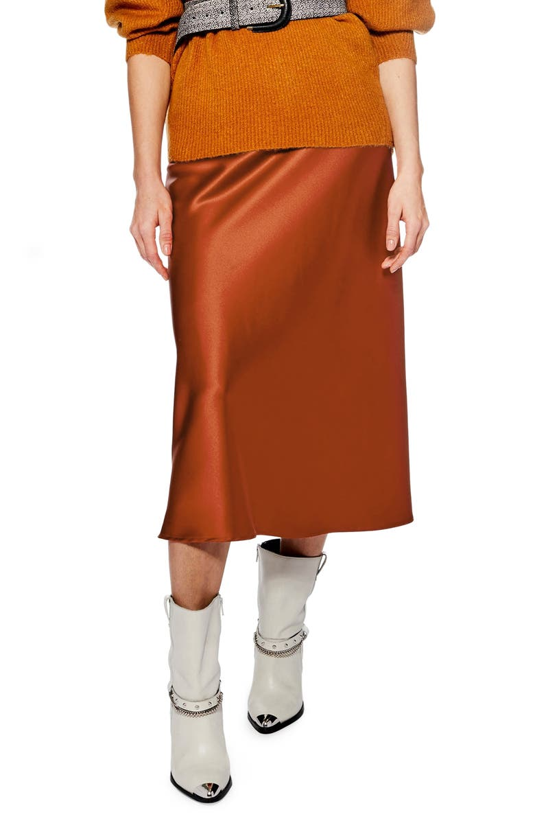 TOPSHOP Satin Bias Midi Skirt, Main, color, RUST