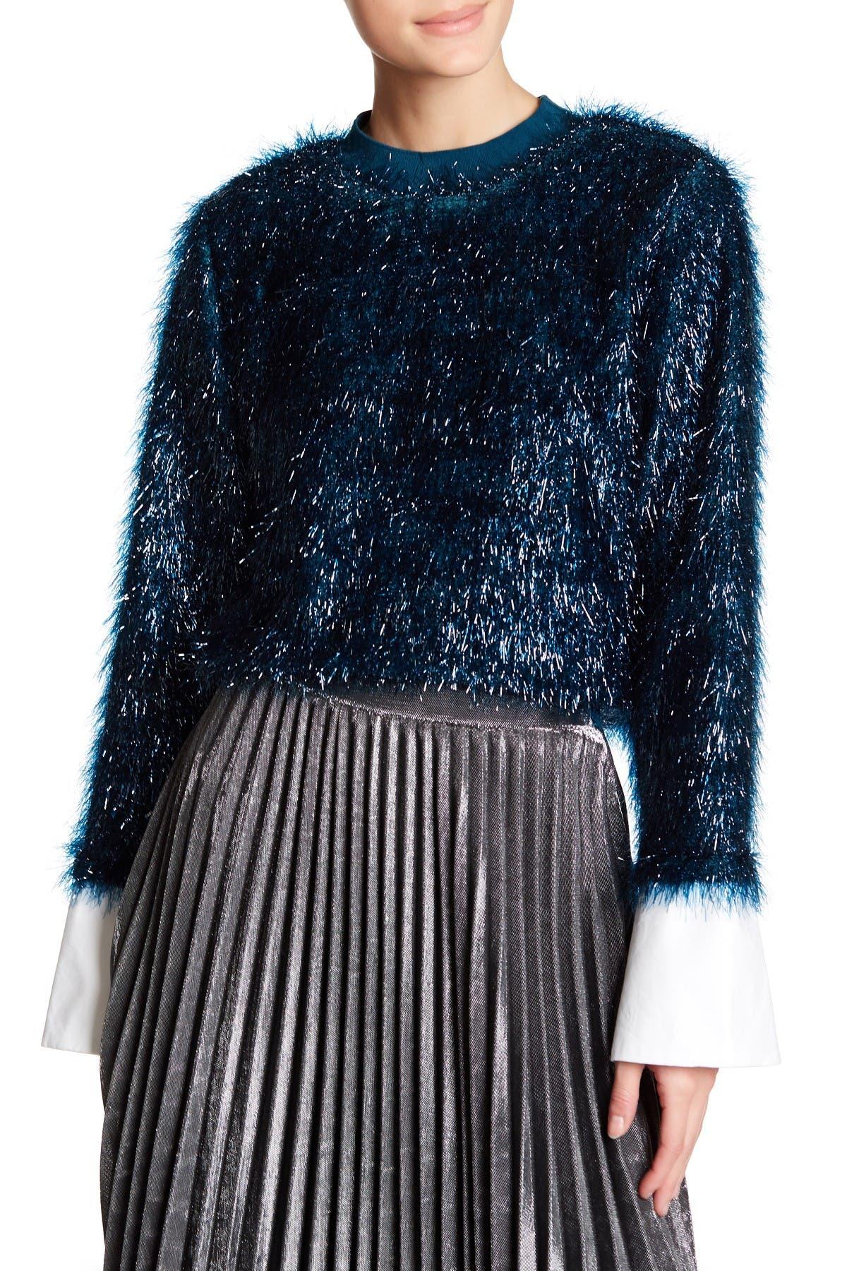 Image of TOV Lustrous Faux Fur Sweatshirt