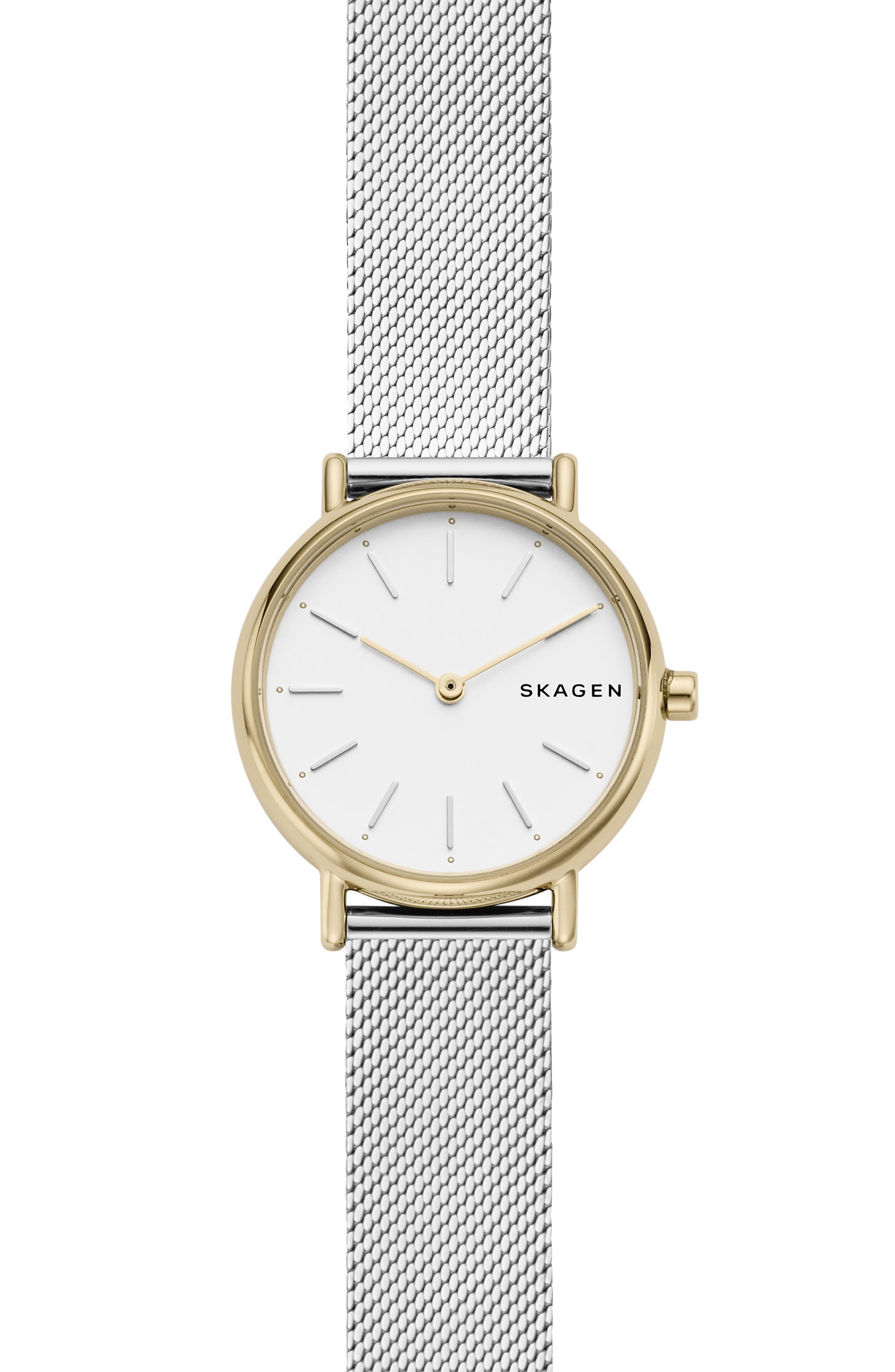 women's skagen signatur slim mesh strap watch, 30mm