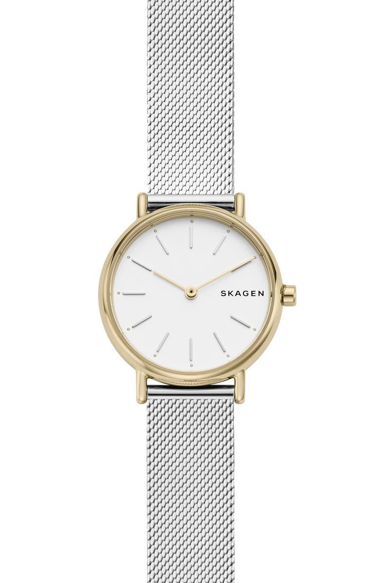 SKAGEN Signatur Slim Mesh Strap Watch, 30mm, Main, color, SILVER/ GOLD
