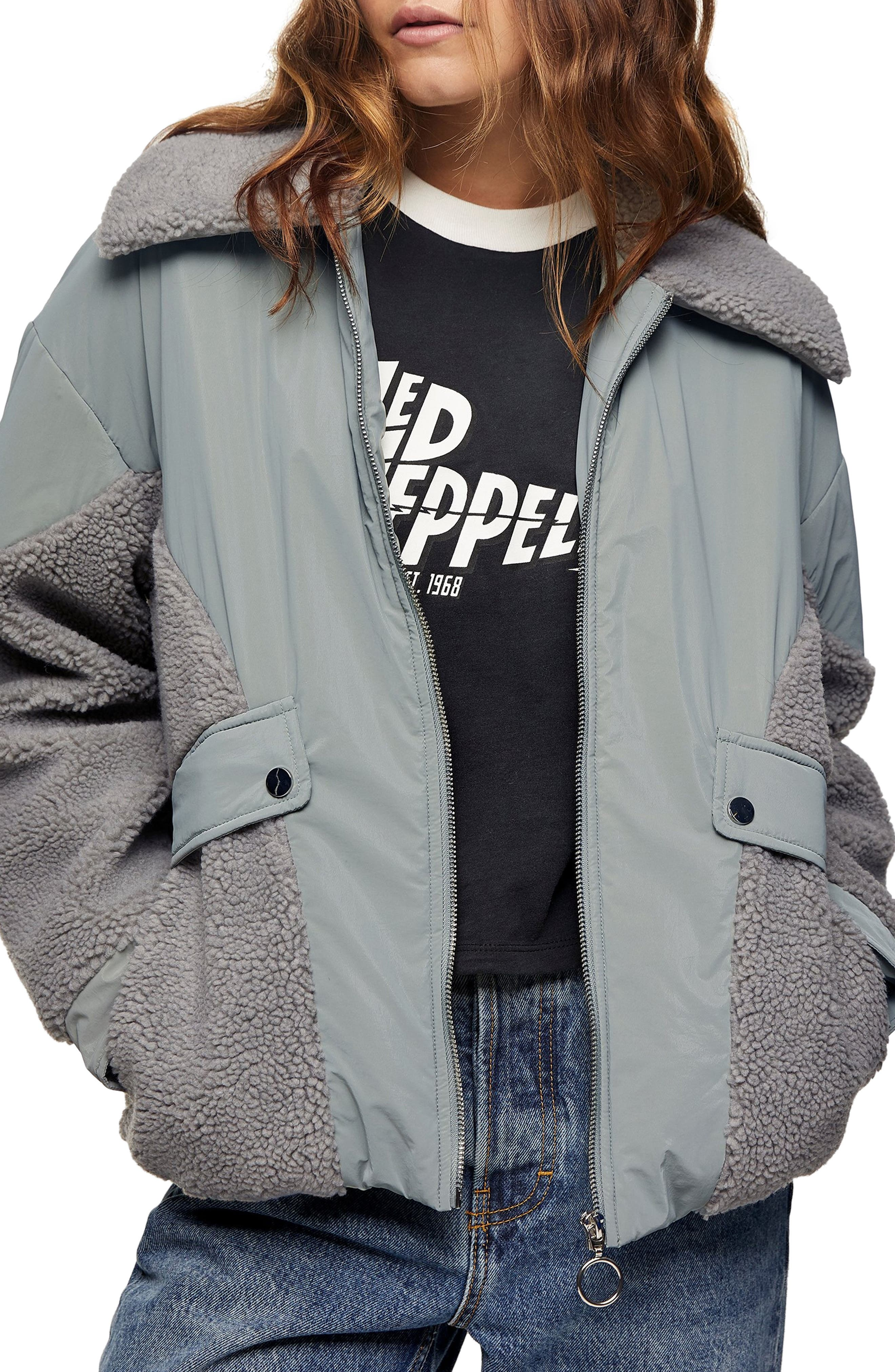 Image of TOPSHOP Megan Fleece Mixed Media Jacket
