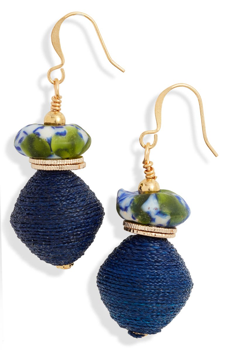AKOLA Glass & Raffia Drop Earrings, Main, color, NAVY