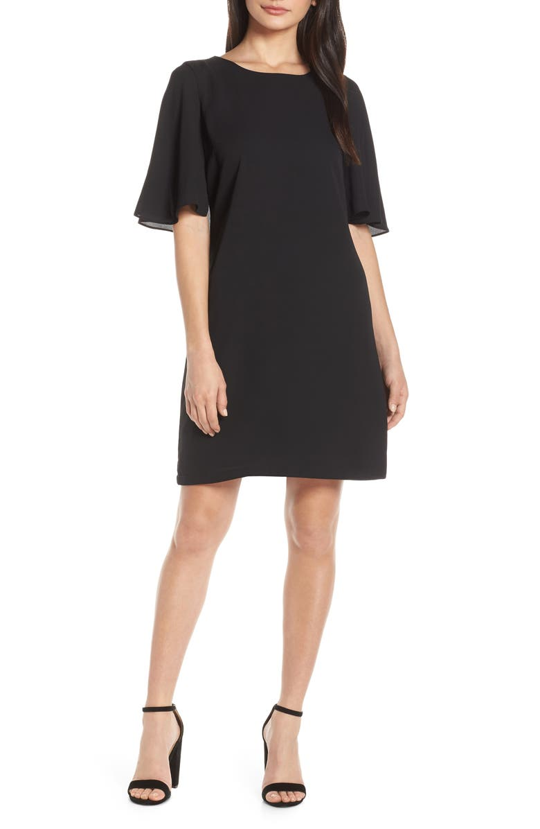 FOREST LILY Cape Shift Dress, Main, color, BLACK
