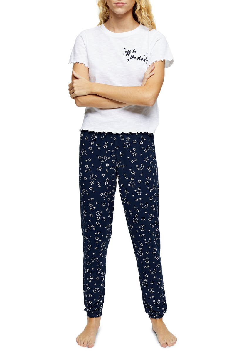 TOPSHOP Embroidered Pajamas, Main, color, NAVY MULTI
