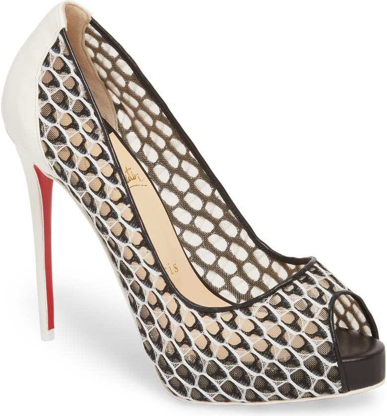 CHRISTIAN LOUBOUTIN Very Lace Peep Toe Pump, Main, color, 100