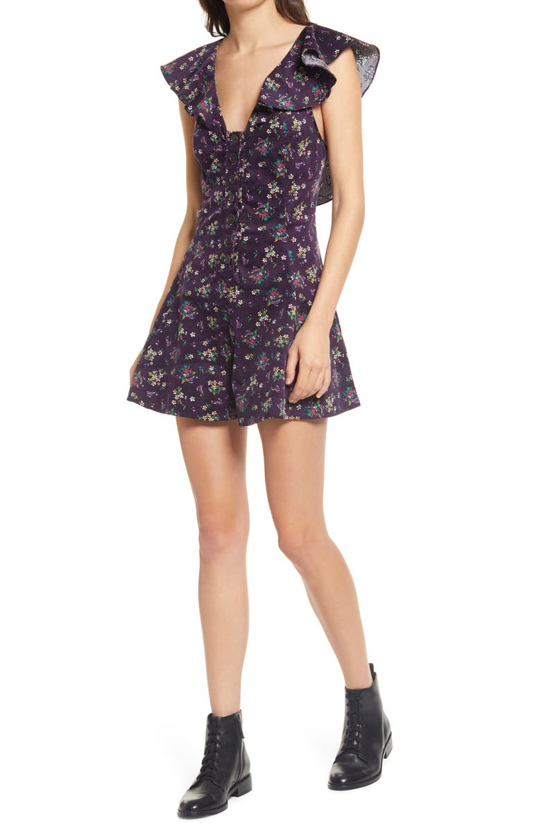 FREE PEOPLE Violet Visions Corduroy Romper, Main, color, VIOLET VISIONS COMBO