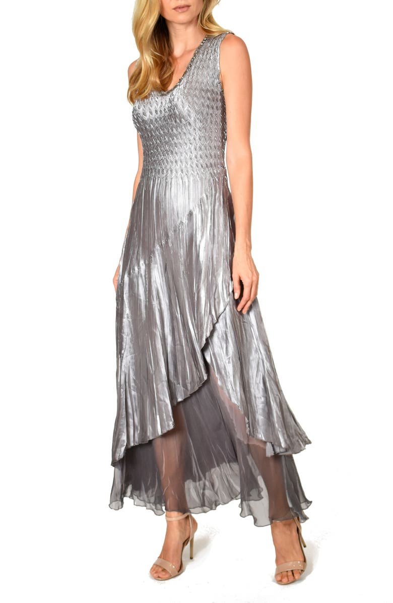 KOMAROV Beaded Charmeuse & Chiffon Gown with Wrap, Main, color, OYSTER SMOKE OMBRE