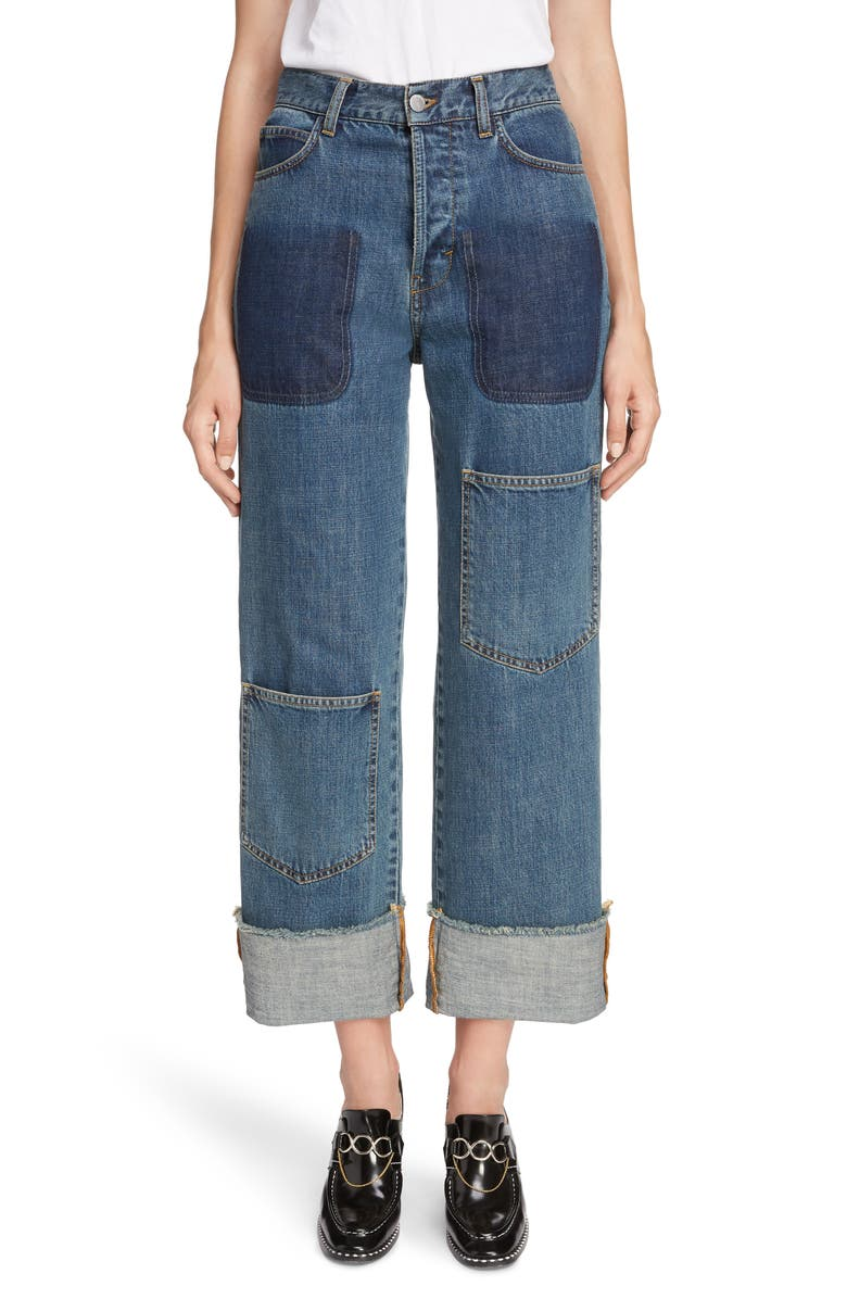 JW ANDERSON Shaded Pocket Wide Leg Ankle Jeans, Main, color, 400