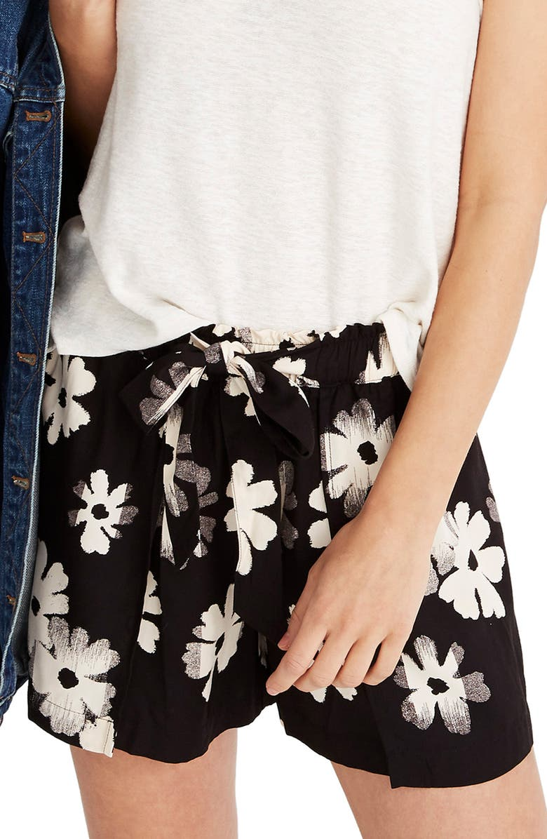 MADEWELL Ikat Floral Drapey Pull-On Shorts, Main, color, 001