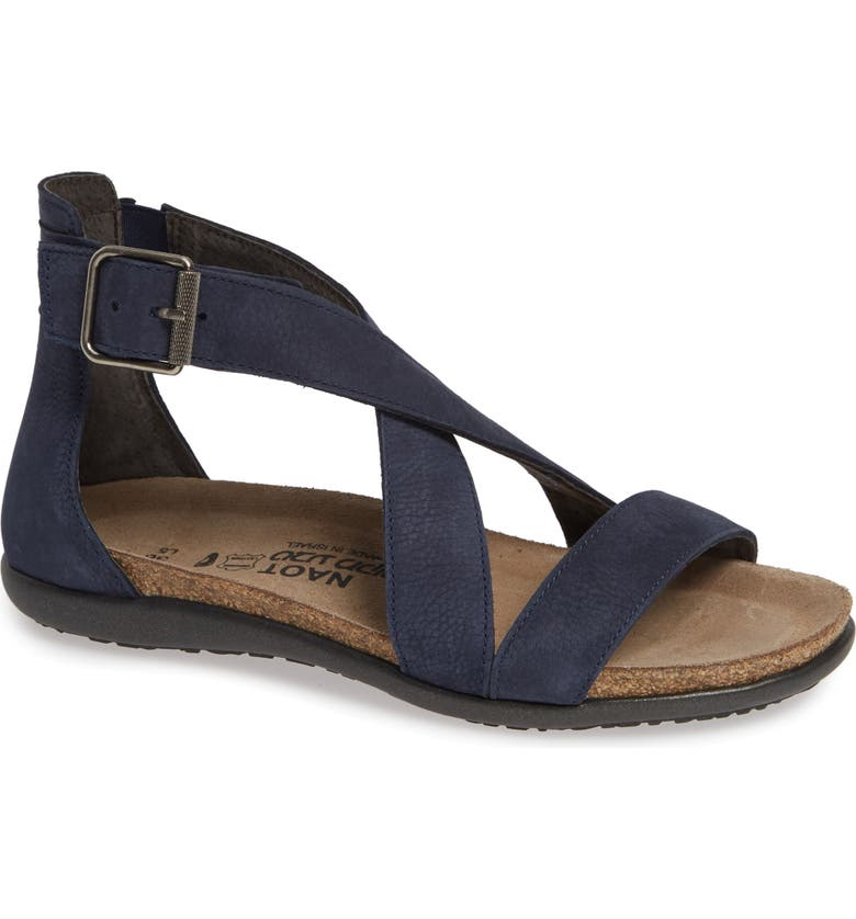 NAOT Rianna Crisscross Sandal, Main, color, NAVY NUBUCK LEATHER