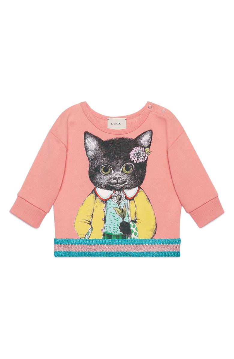 GUCCI Kitten Graphic Cotton Sweatshirt, Main, color, ROSETTE PINK