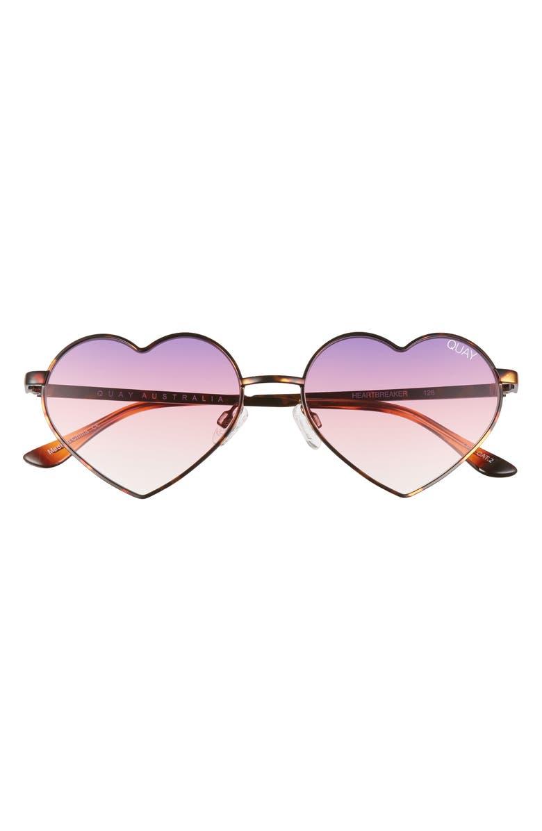 QUAY AUSTRALIA Heartbreaker 55mm Tinted Heart Sunglasses, Main, color, TORTOISE/ PURPLE FADE