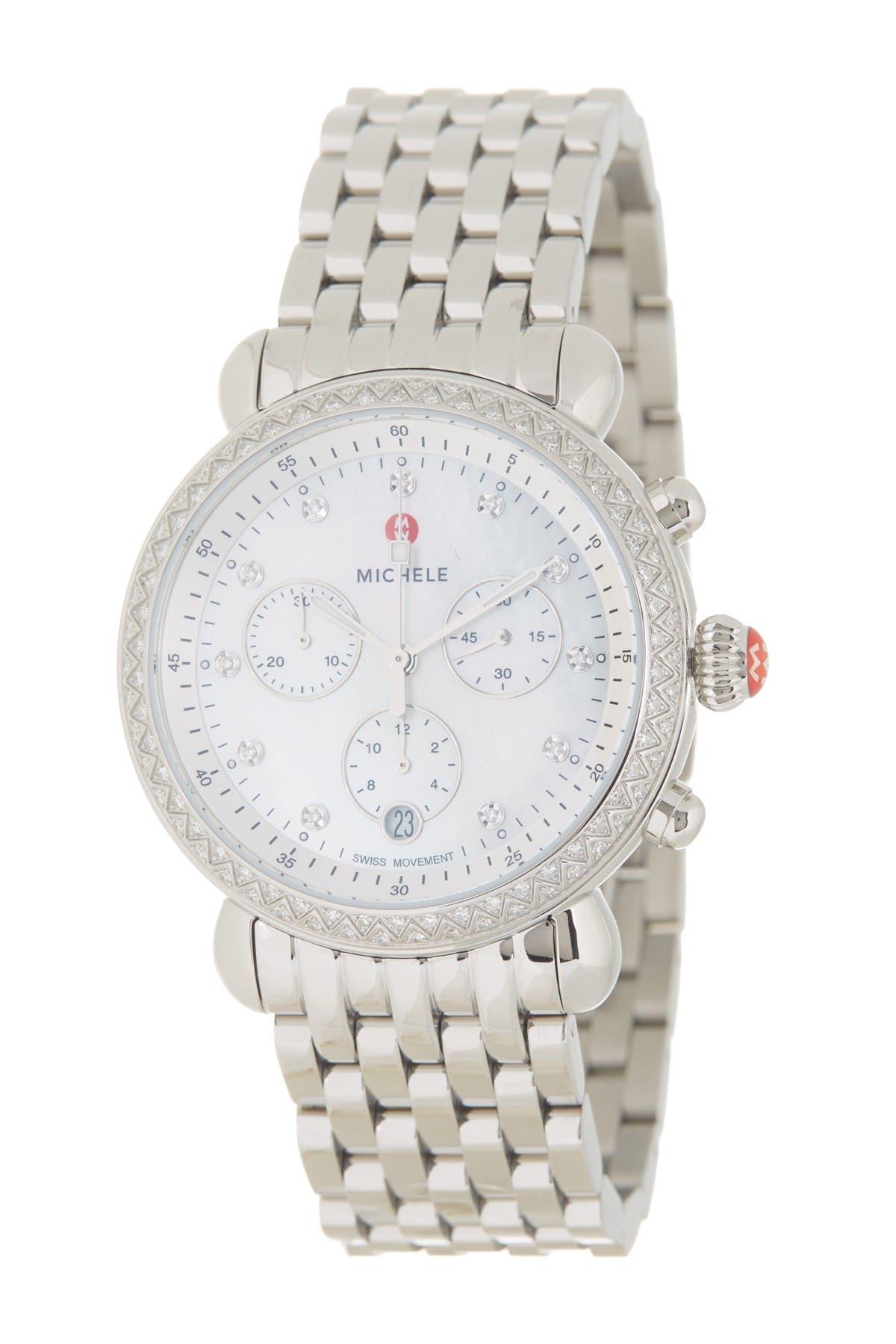 Image of Michele Women's CSX Diamond Embellished Bracelet Watch, 37mm