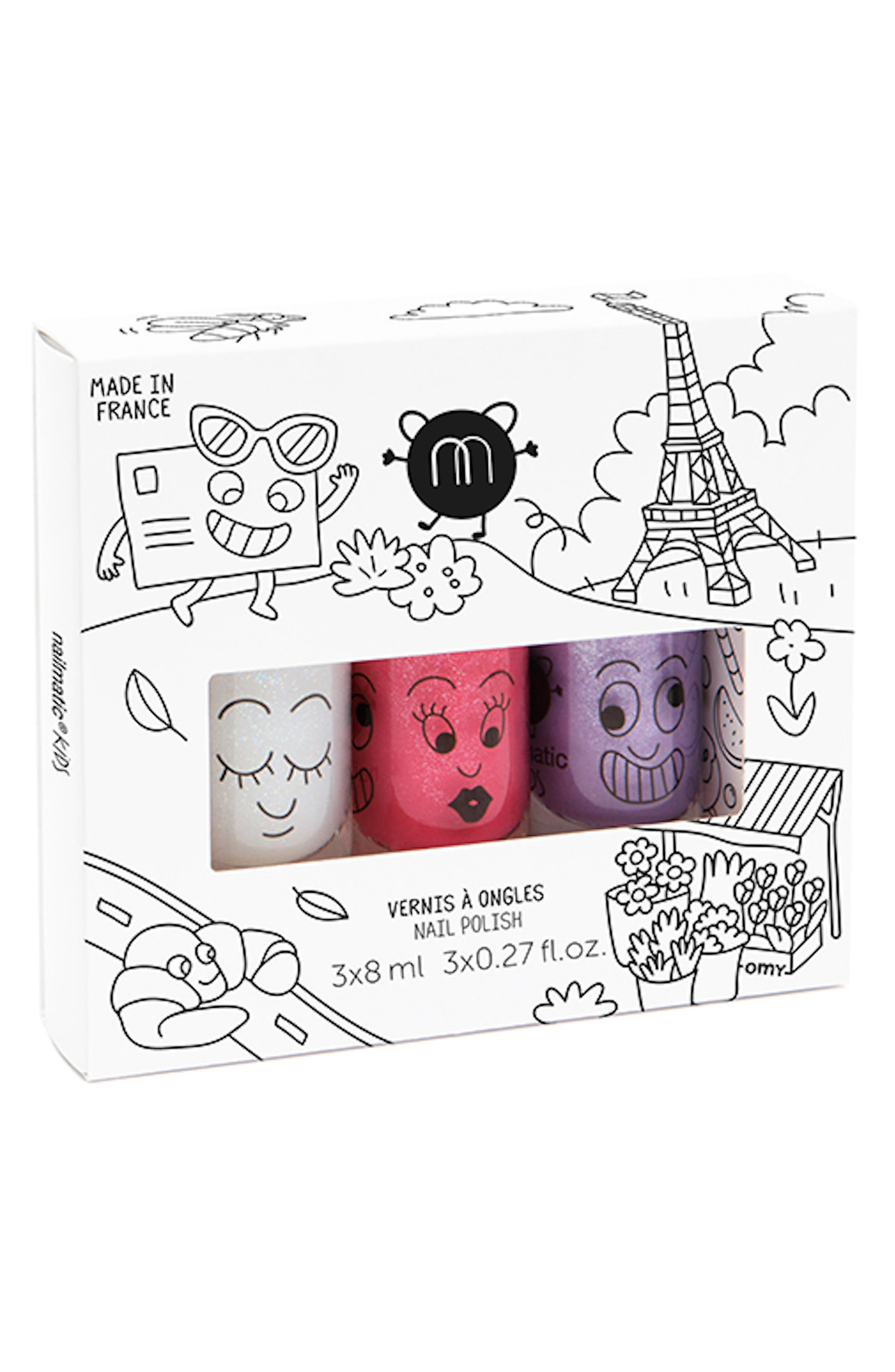 Water-based nail polish in bright colors lets your little fashionista paint her fingernails just like Mom without worry about stains from accidental spills or need for pungent polish removers. Dermatologist-tested, it\\\'s formulated just for kids and easily washes off with soap and water. Style Name: Nailmatic Water-Based Nail Polish Set (Girls). Style Number: 5450505 2. Available in stores.