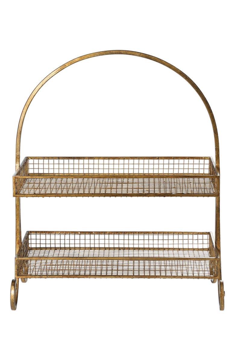 UTTERMOST Callen Wire Shelved Fruit Basket, Main, color, ANTIQUED METALLIC GOLD LEAF