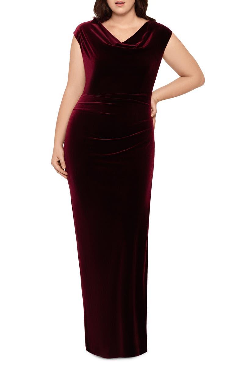 XSCAPE Drape Velvet Column Gown, Main, color, 930