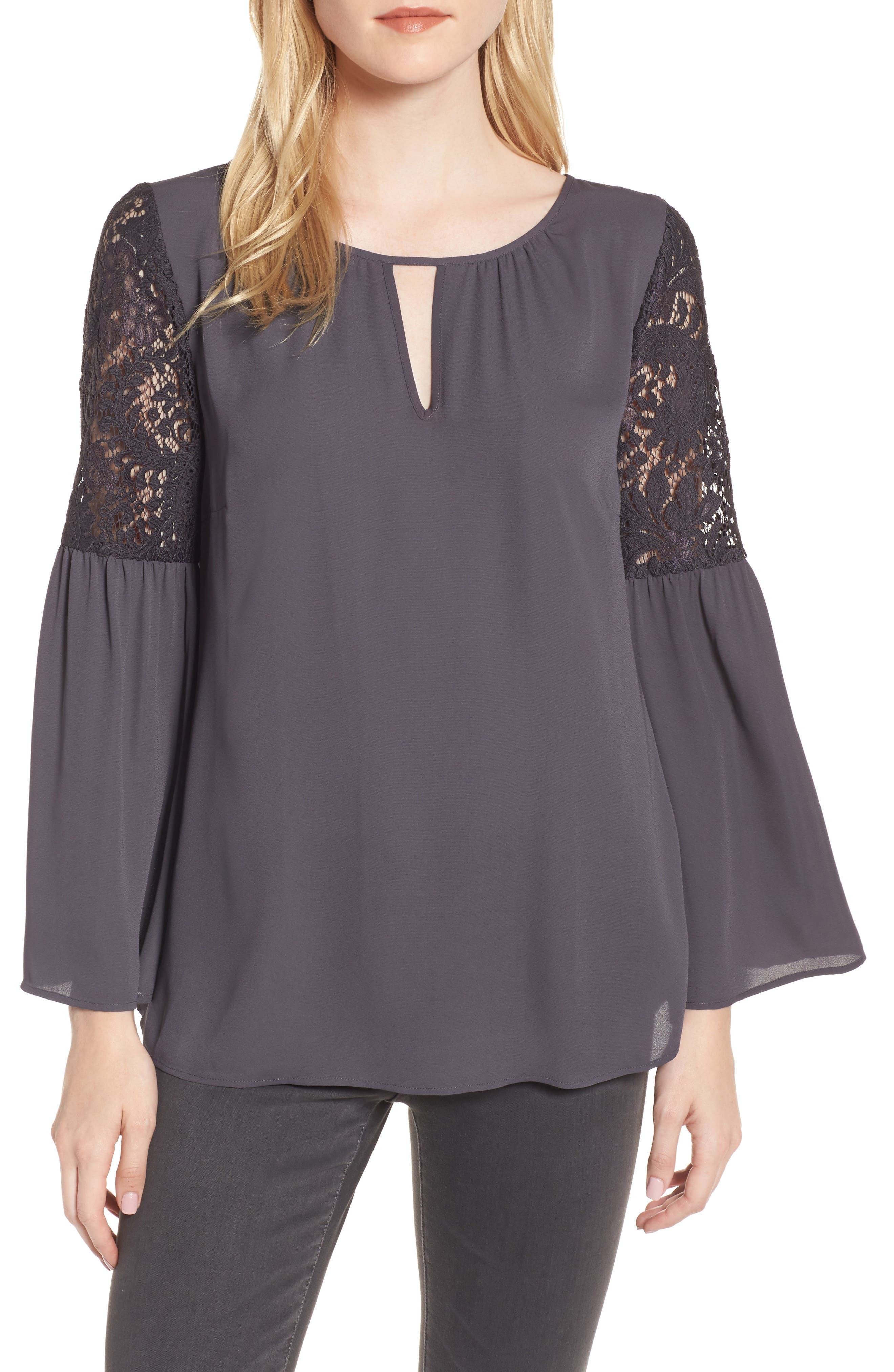 ,                             Lace Bell Sleeve Top,                             Main thumbnail 1, color,                             021