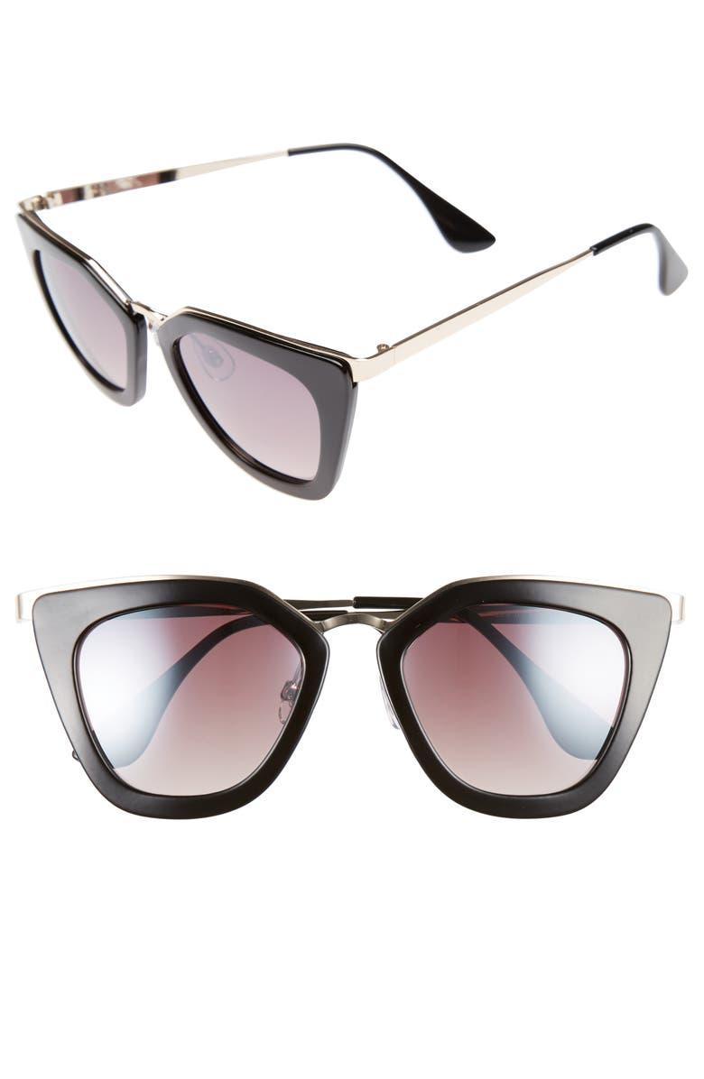 BP. Dejavu 51mm Cat Eye Sunglasses, Main, color, 001