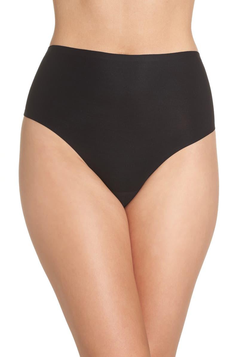 CHANTELLE LINGERIE Soft Stretch Seamless Retro Thong, Main, color, BLACK