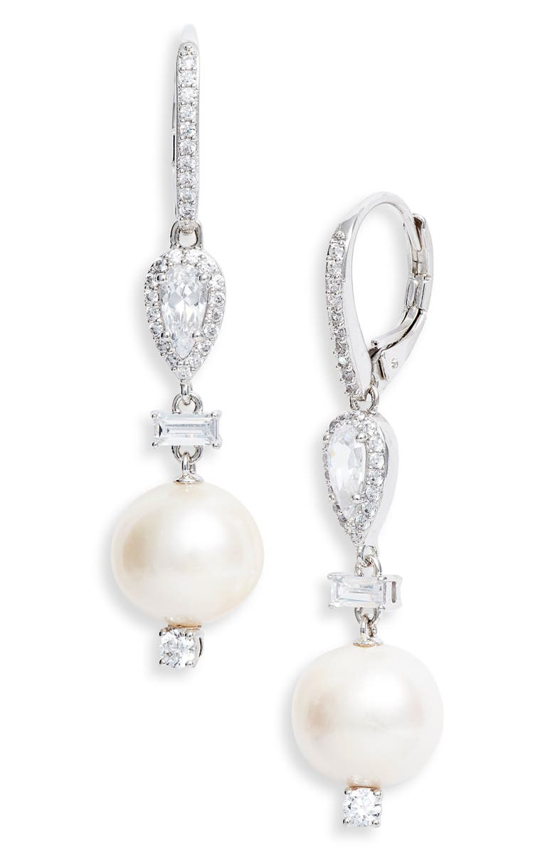 NADRI Trousseau Freshwater Pearl Drop Earrings, Main, color, RHODIUM