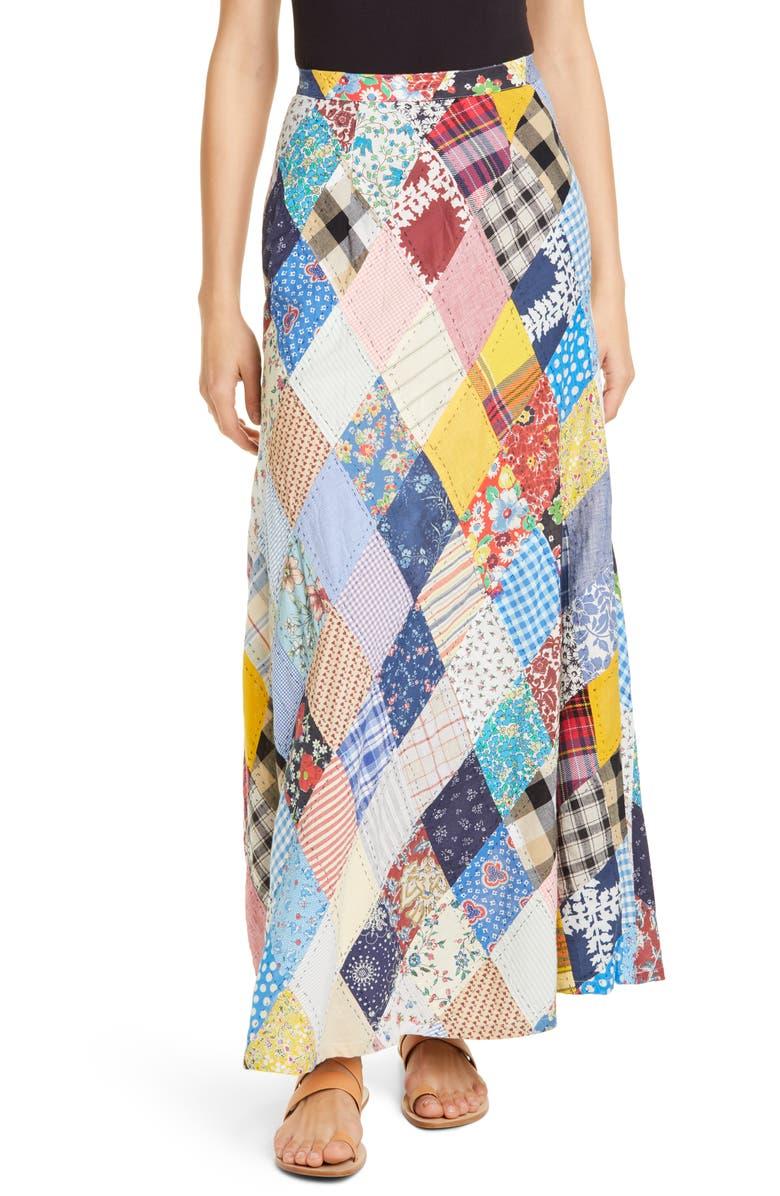 POLO RALPH LAUREN Patchwork Maxi Skirt, Main, color, 400