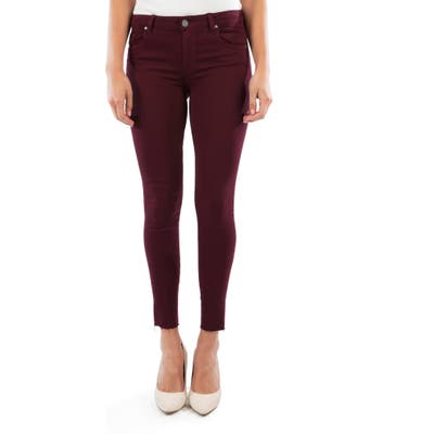 Kut From The Kloth Donna High Waist Raw Hem Ankle Skinny Jeans, Burgundy