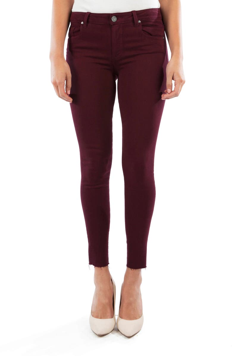 KUT FROM THE KLOTH Donna High Waist Raw Hem Ankle Skinny Jeans, Main, color, DEEP PLUM