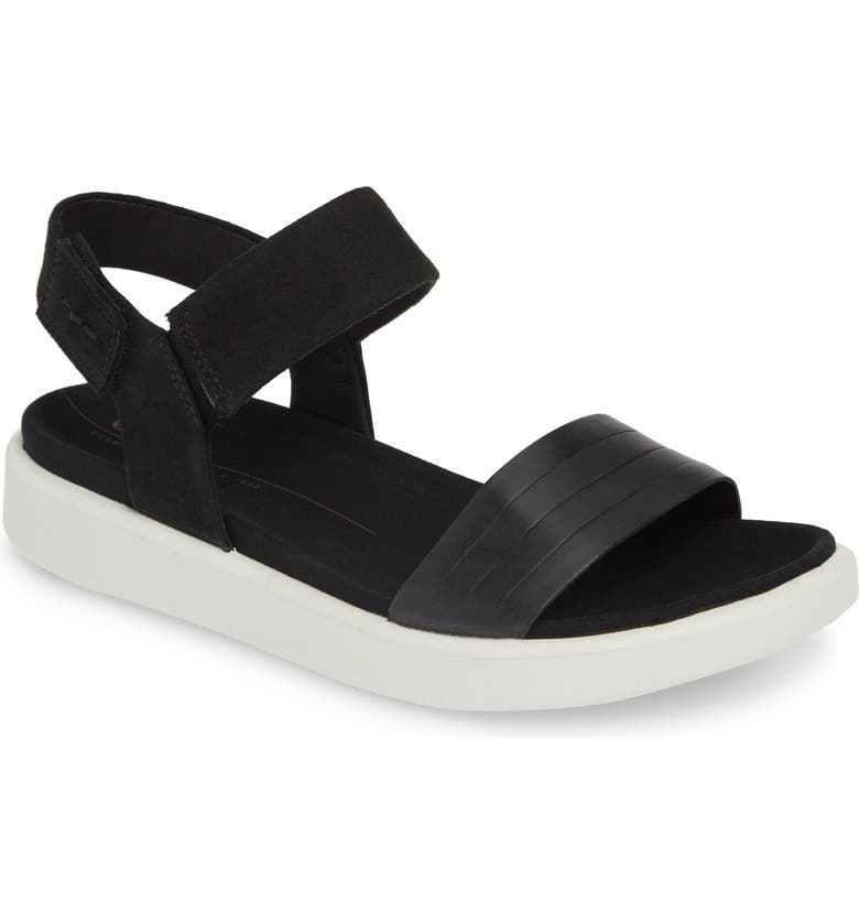 ECCO Flowt Strap Sandal, Main, color, BLACK LEATHER