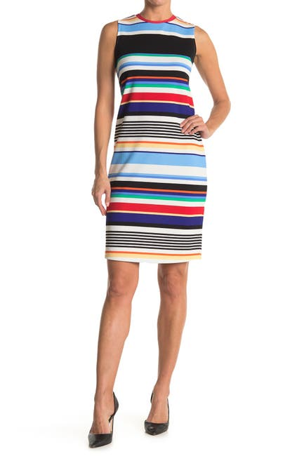 Image of TASH + SOPHIE Sleeveless Stripe Midi Sheath Dress