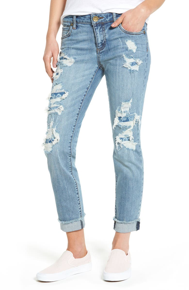 KUT FROM THE KLOTH Destroyed & Patched Boyfriend Jeans, Main, color, 491