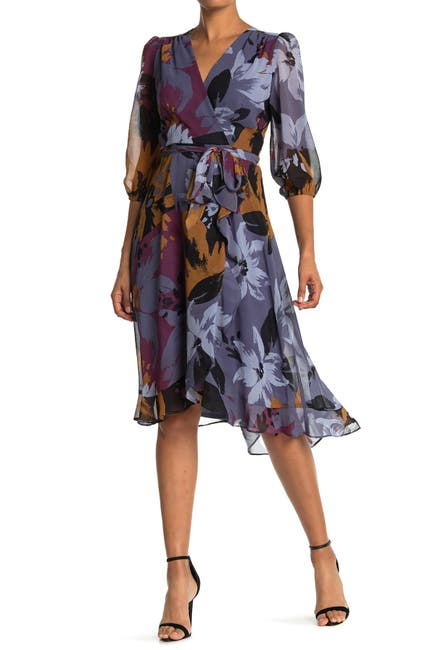 Image of Taylor Printed Puff Sleeve Wrap Dress