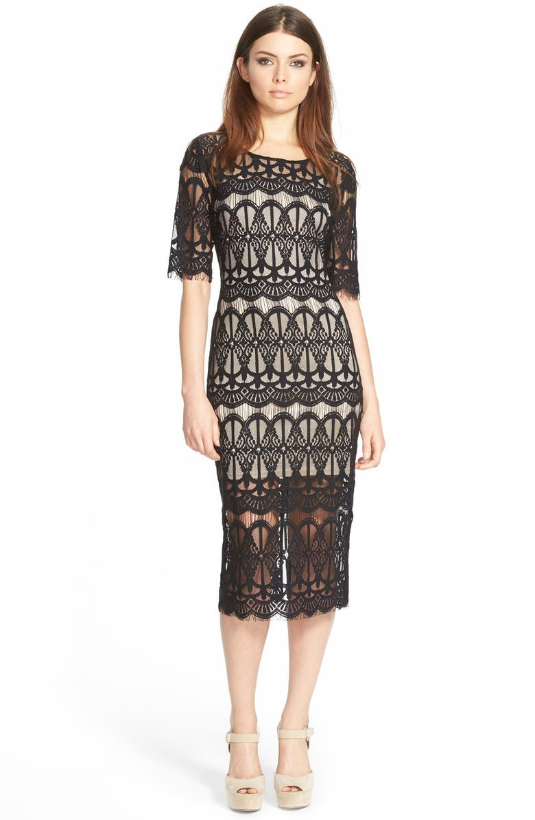 J.O.A. Lace Body-Con Dress, Main, color, 001