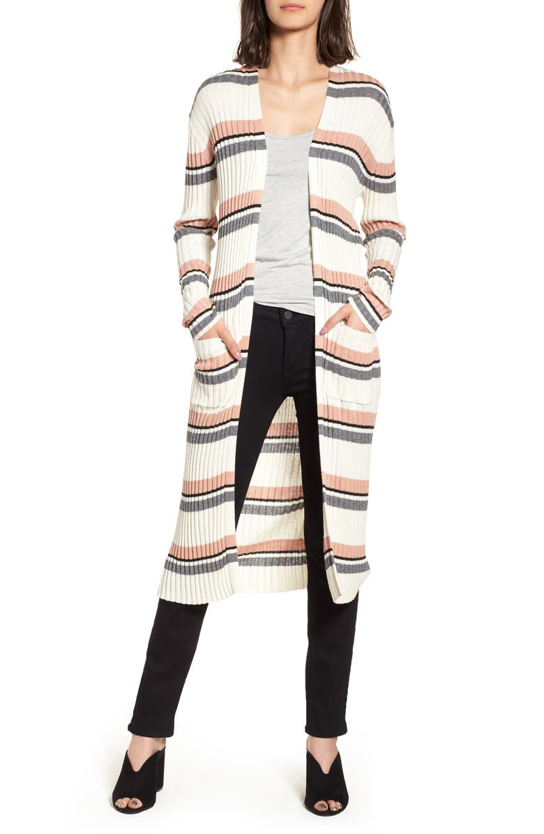 BP. Stripe Midi Open Cardigan, Main, color, 900