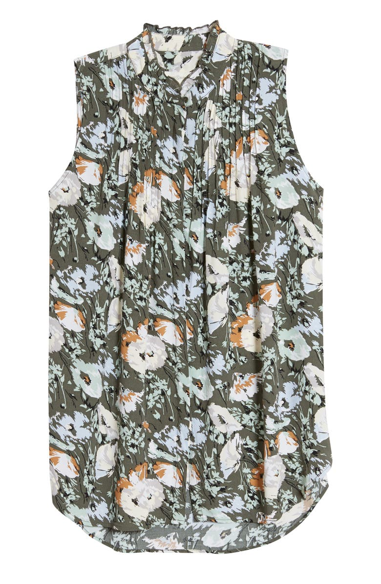 TREASURE & BOND Print Pleated Top, Main, color, OLIVE FLORAL