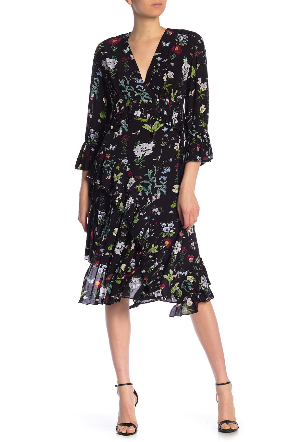 Image of Joie Analena Floral Pleated Ruffle Midi Dress