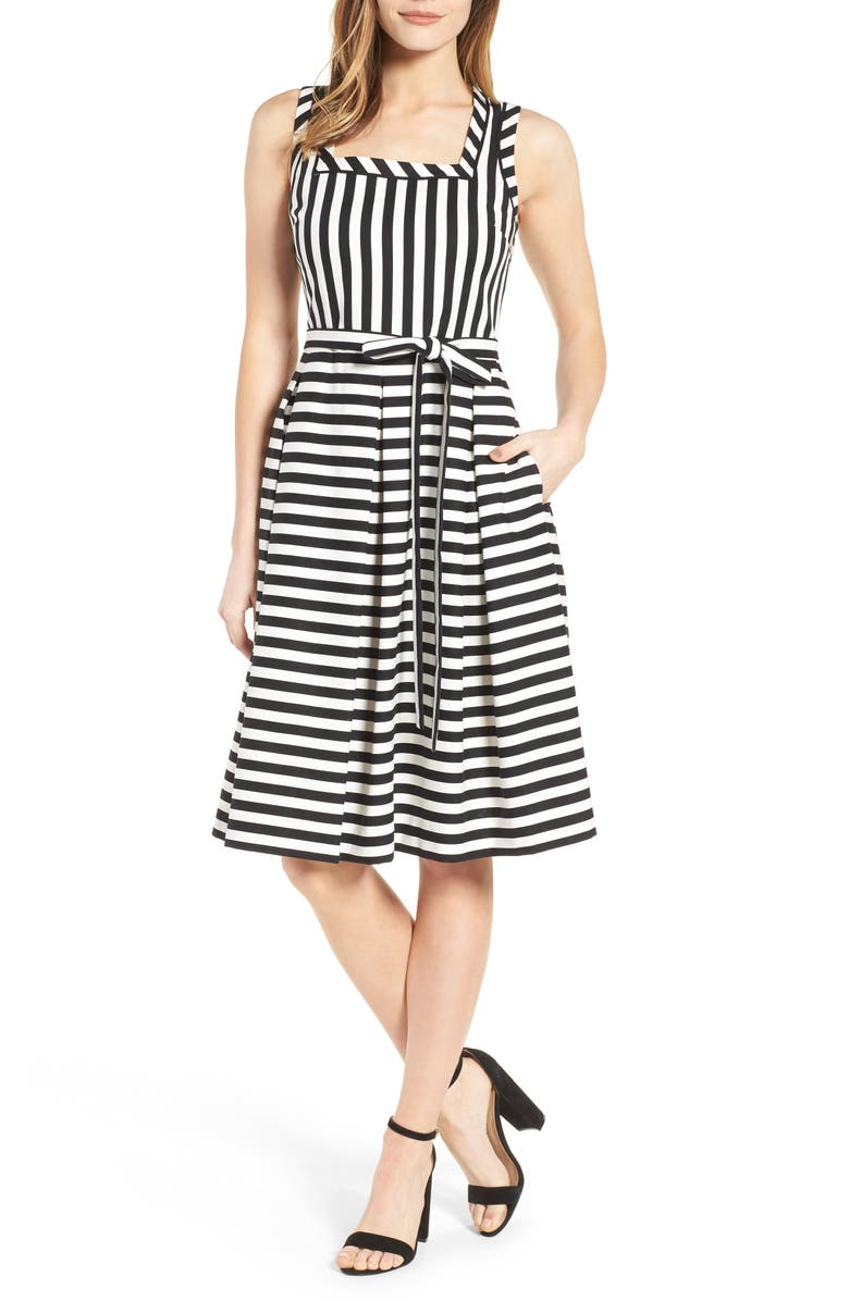 ANNE KLEIN Stripe Fit & Flare Dress, Main, color, 100