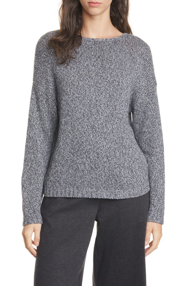 EILEEN FISHER Organic Cotton Sweater, Main, color, CHARCOAL