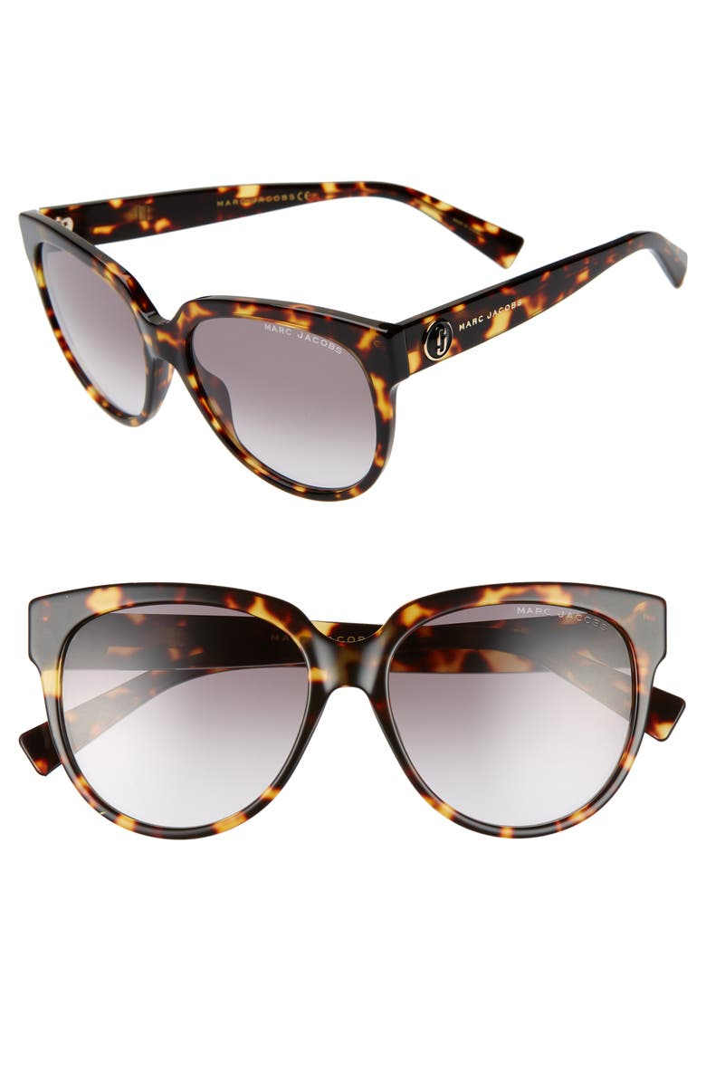 THE MARC JACOBS 56mm Rounded Cat Eye Sunglasses, Main, color, 001