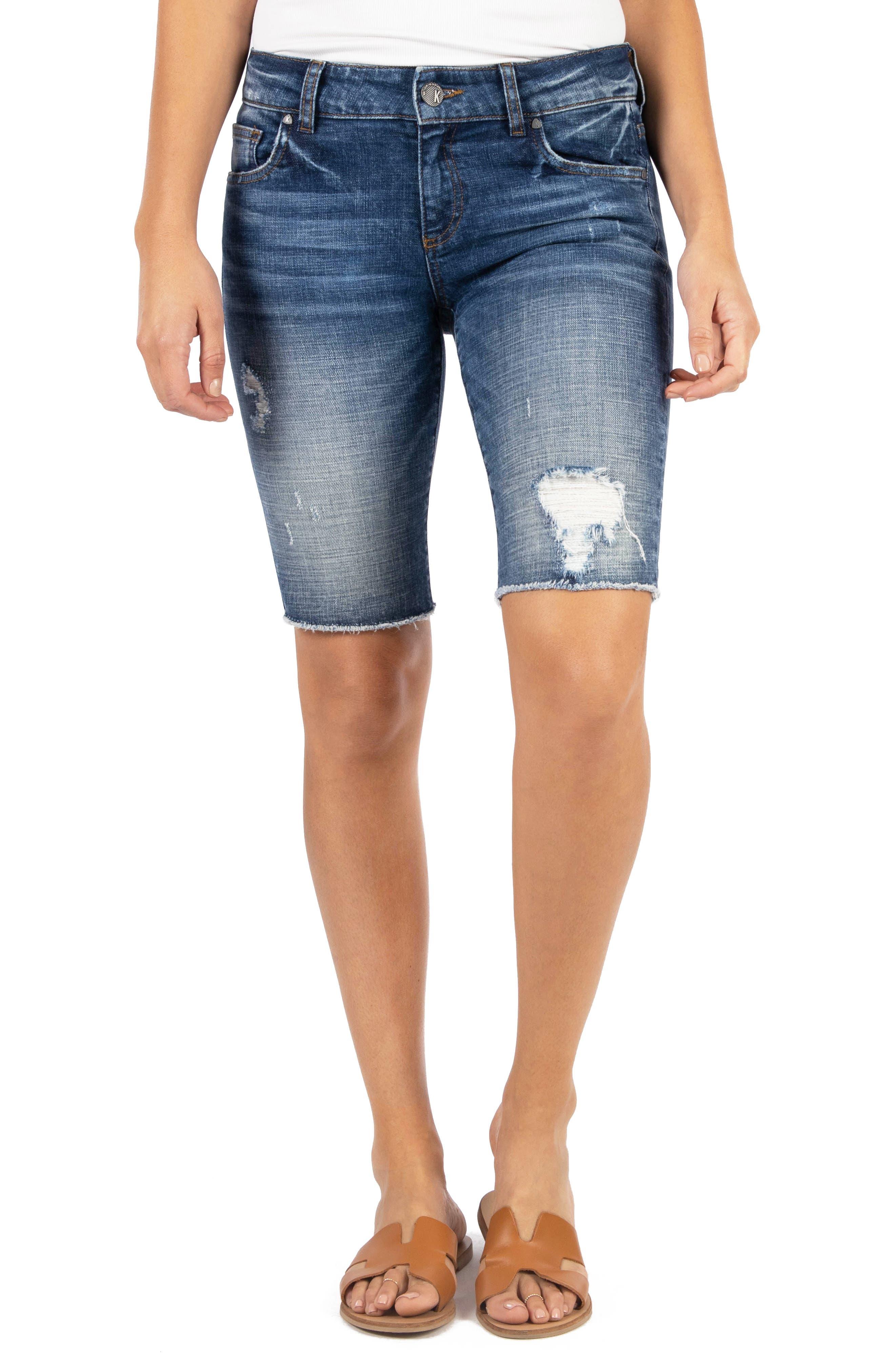 Sophie Distressed Denim Bermuda Shorts